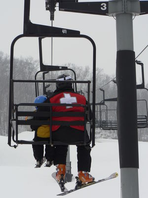 Aaron and Bode on the chair lift